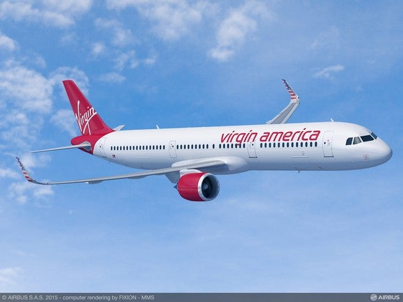 A rendering of Virgin America's new A321neo