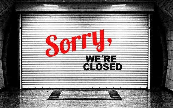 "A ""sorry we're closed"" sign, representing insurers who are fleeing Obamacare exchanges."