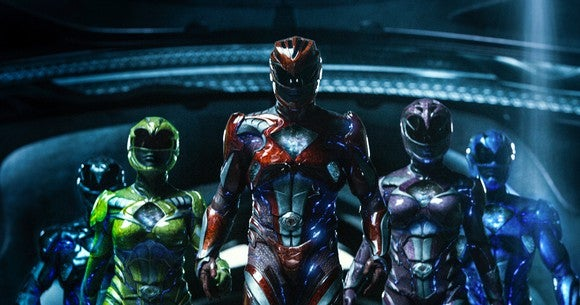 "The five heroes from the recently released ""Power Rangers"" movie decked out in their fighting suits"