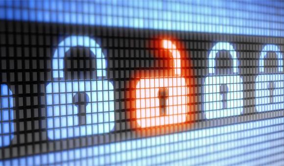 A row of digital padlocks depicting an unlocked firewall.