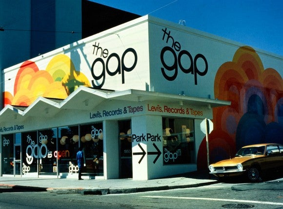 The first Gap store onOcean Ave. in San Francisco, California in 1969