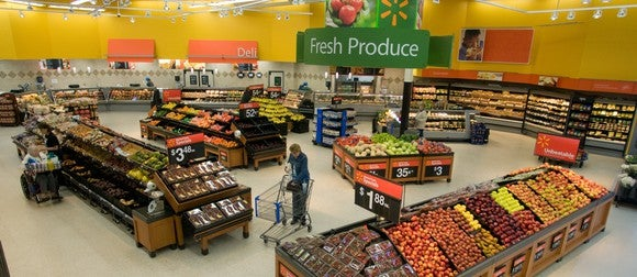 The produce section of a Wal-Mart store
