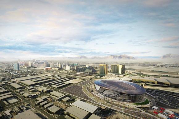 Artist's bird's-eye-view rendering of the Raiders new stadium near the Las Vegas Strip.