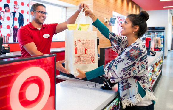 A Target employee and customer.