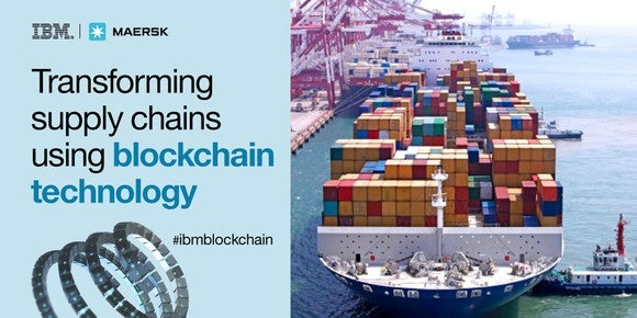 Ad showing cargo ship and IBM's claim that it is transforming supply chains using blockchain
