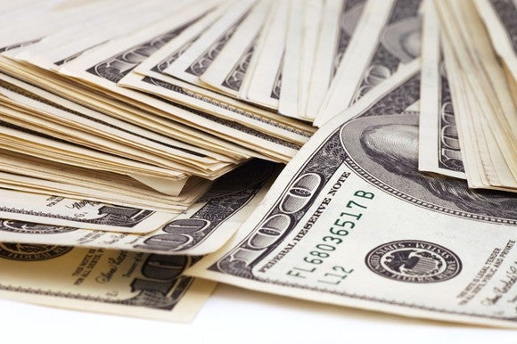 Stack of 100 dollar bills.