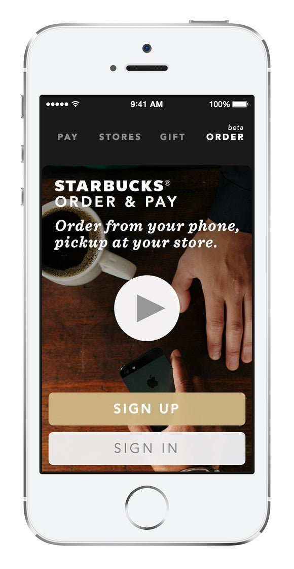 Phone displaying Starbucks' app page