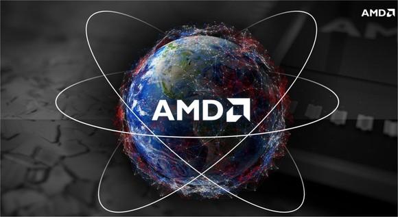 The AMD logo on a globe background.