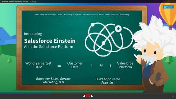 Salesforce Einstein, explained on a chalkboard.
