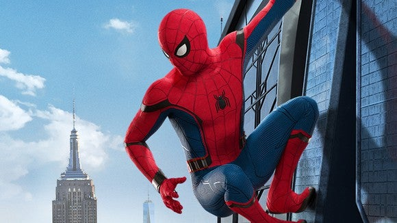 "Spider-Man hanging on to a building, from Sony's upcoming ""Spider-Man: Homecoming."""