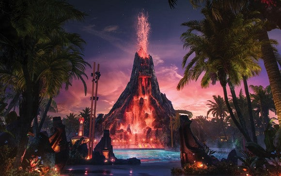 Volcano Bay's centerpiece erupting in concept art.
