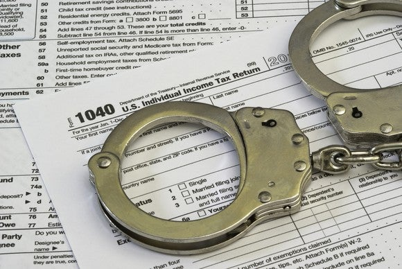 Tax return with handcuffs