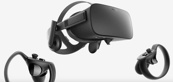 Image of Oculus Rift VR headset and VR controllers.