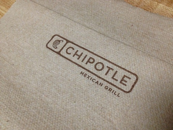 A napkin with the Chipotle logo on it