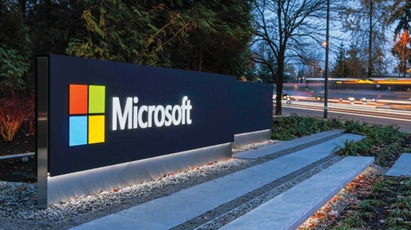 A board with Microsoft sign.