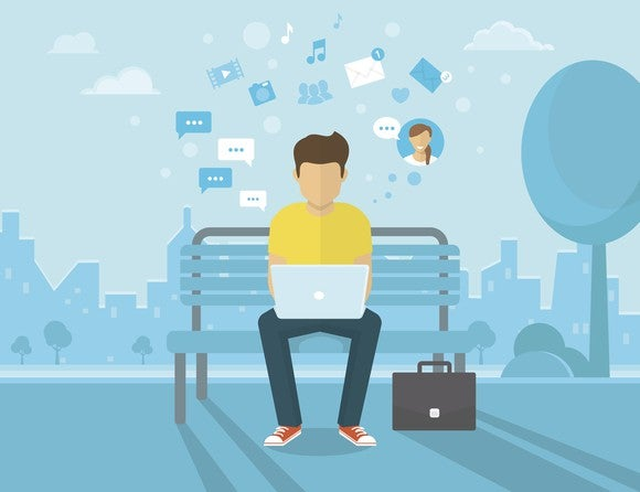 An animated picture of a man sitting on a park bench while looking at social media on his laptop computer.
