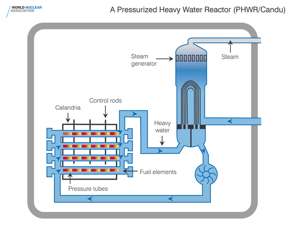 A diagram of a pressurized heavy water reactor.