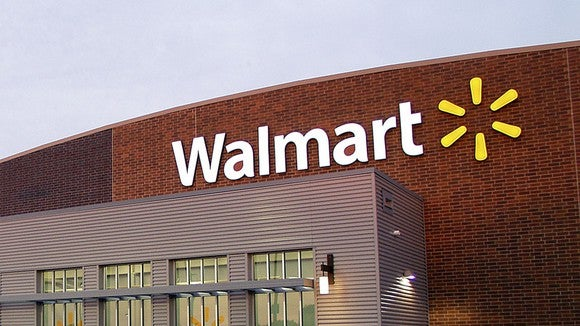 A view of the entrance to a Wal-Mart store