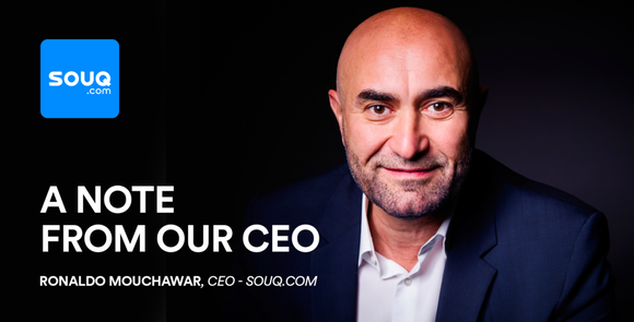"""Souq.com CEO Ronaldo Mouchawar. Words on the image take people a """"note"""" from the about the purchase by Amazon."""