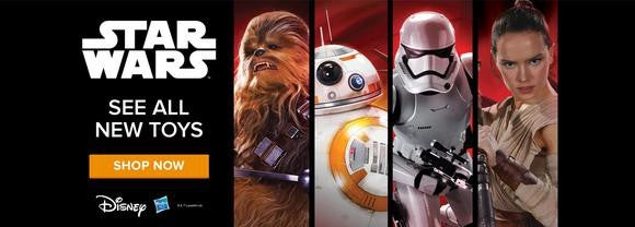 "A Hasbro advertisement for toys based on Disney's ""Star Wars"" franchise, which sows four main characters in ""The Force Awakens."""