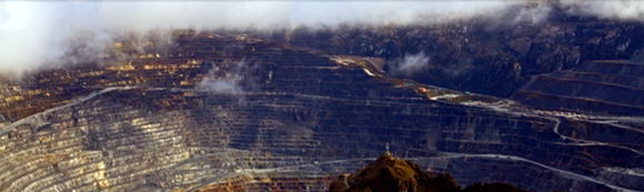 An aerial view of the Grasberg mine.