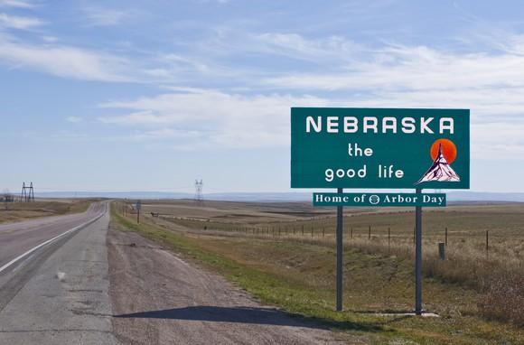 Nebraska welcome sign.