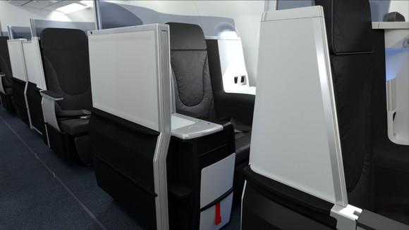 The interior of the JetBlue Mint premium cabin