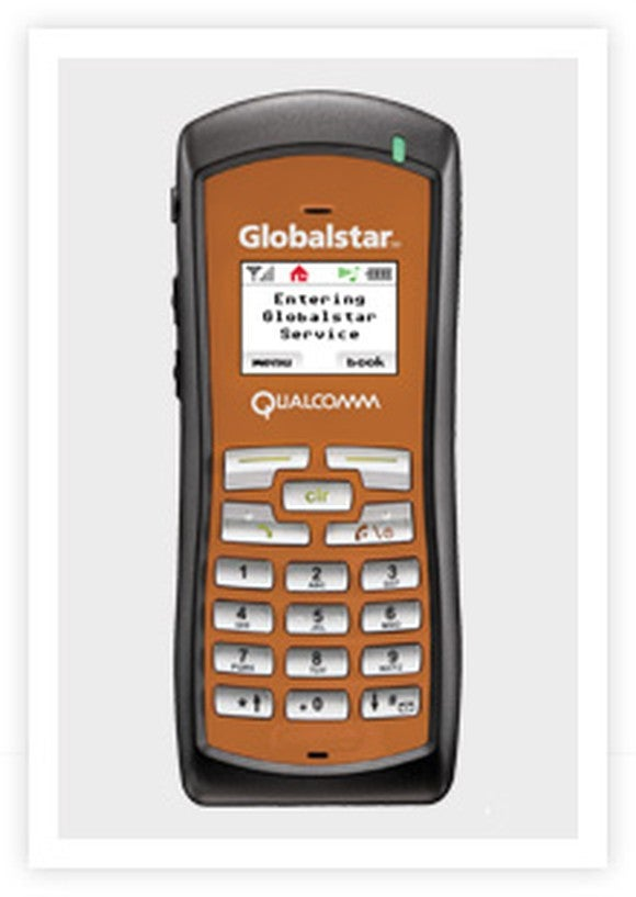 The rugged satellite phone, pictured in copper and black.