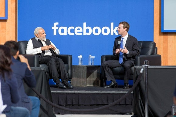 Facebook CEO Mark Zuckerberg sitting down with India's Prime Minister Narendra Modi.