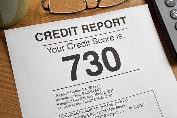A mockup of a credit report with a credit score of 730 in large print.