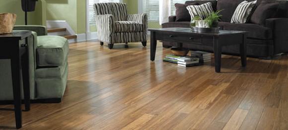 A living room scene featuring bamboo flooring from Lumber Liquidators