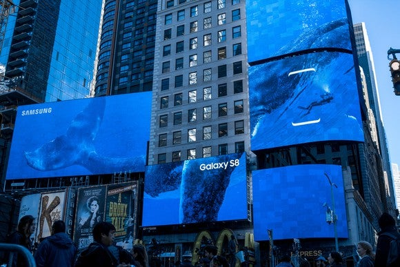 Massive advertising panels tout Samsung's recently released Galaxy S8 handset outside its launch event.