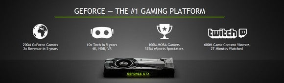 A slide from NVIDIA touts its progress in gaming and eSports.