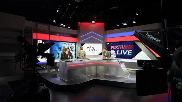 A studio shot of Comcast's sports network in New England