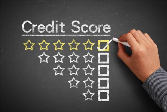 A credit score scale representing by one to five stars.