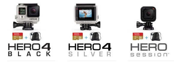 GoPro's popular Hero 4 lineup (Black, Silver, Session).