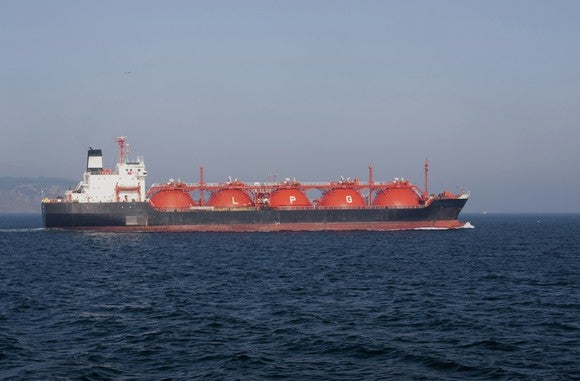 LPG tanker at sea.