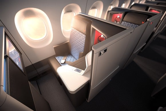 A mockup of the new Delta One cabin on an A350