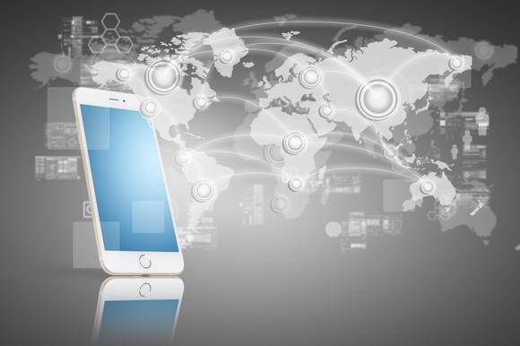 Global smartphone concept.