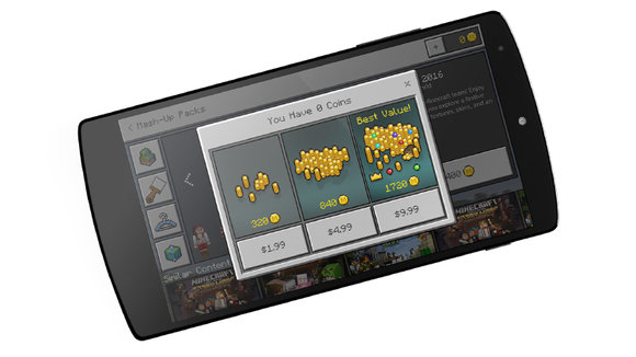 In-app interface to buy Minecraft Coins