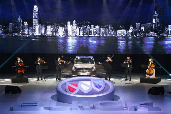 GM presenting a new SUV product launching in China.