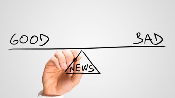 "A hand drawing the words ""good"" and ""bad"" above a balance point marked ""news."""
