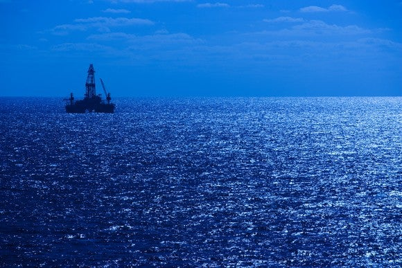 A drilling rig in the Gulf of Mexico.