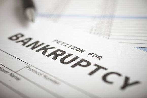A closeup of a bankruptcy form.