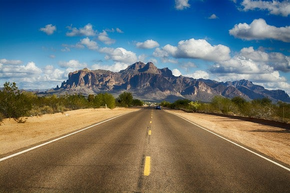 Image of the road to Superstition Mountain in Arizona.