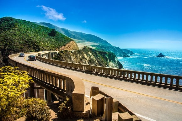 Image showing Bixby Creek Bridge on Highway One on a sunny day.