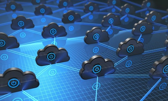 Abstract illustration of cloud computing with glowing blue lines connecting gray cloud shapes.