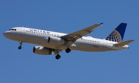 A United Airlines plane in the air.