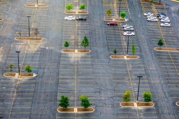 An empty parking lot.