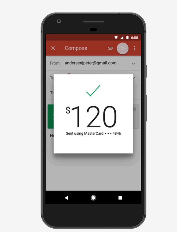 Smartphone displaying Gmail app open and sending money in a newly composed email.